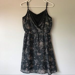 Maurice's gray floral V-neck with lace dress